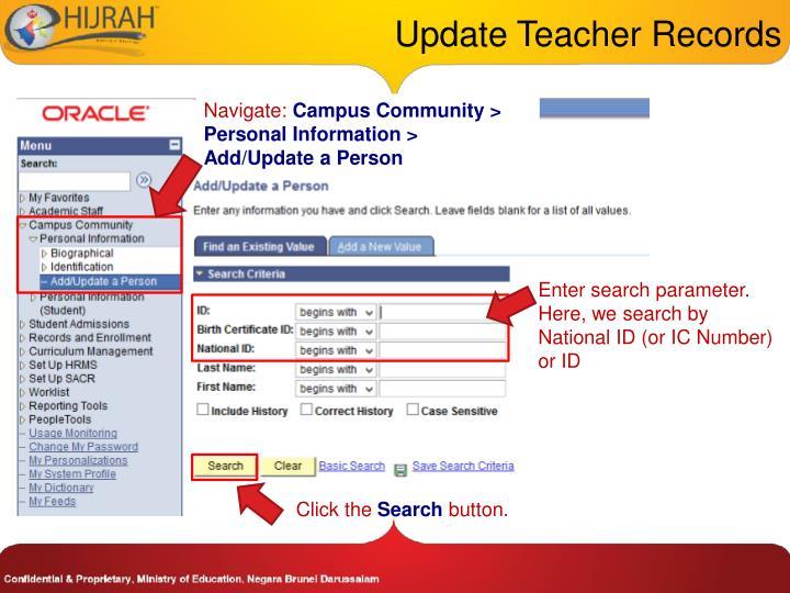 Update Teacher Records