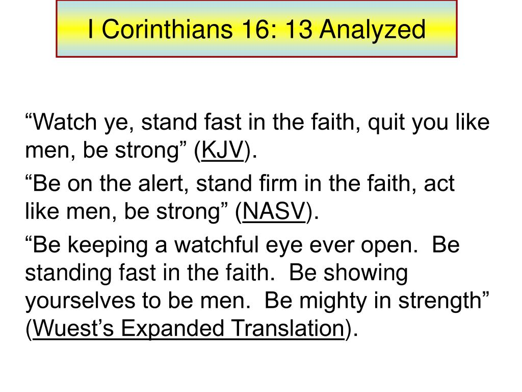 PPT - I Corinthians 16: 13 Analyzed PowerPoint Presentation