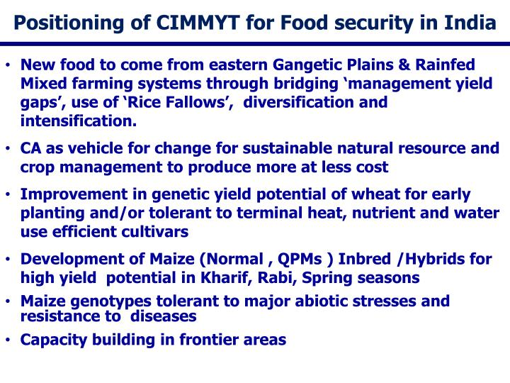 Positioning of CIMMYT for Food