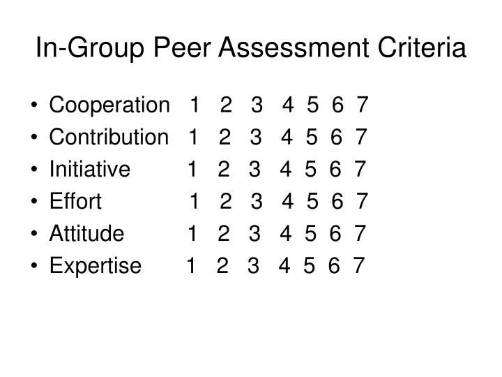 In-Group Peer Assessment Criteria
