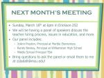 next month s meeting