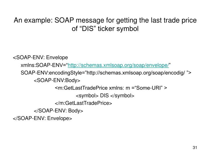 "An example: SOAP message for getting the last trade price of ""DIS"" ticker symbol"