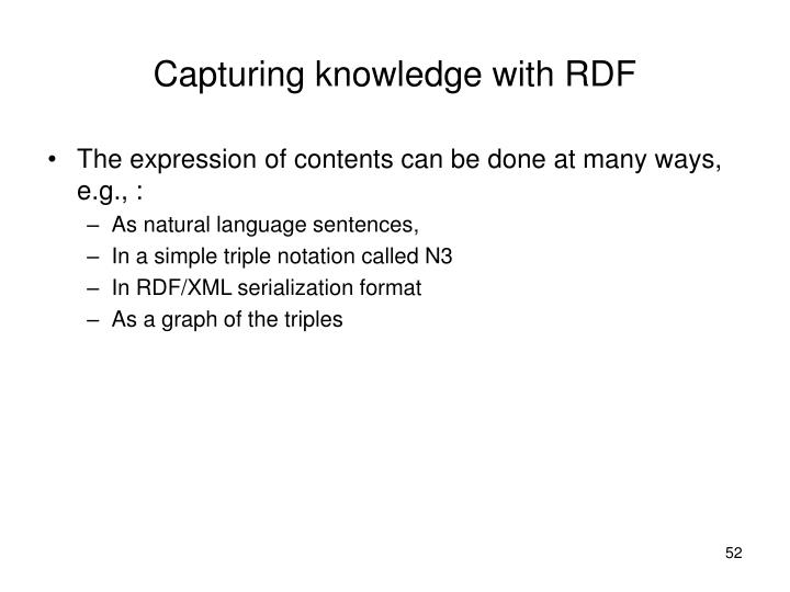 Capturing knowledge with RDF
