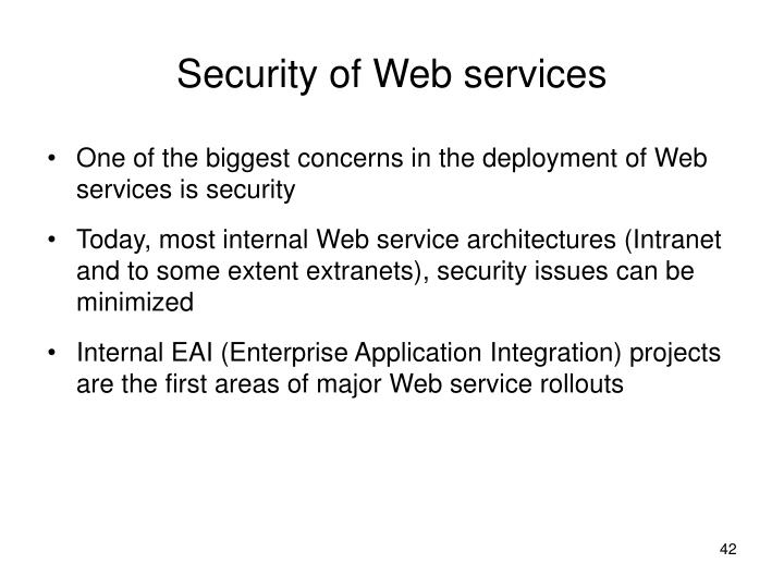 Security of Web services