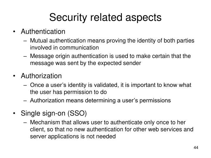 Security related aspects