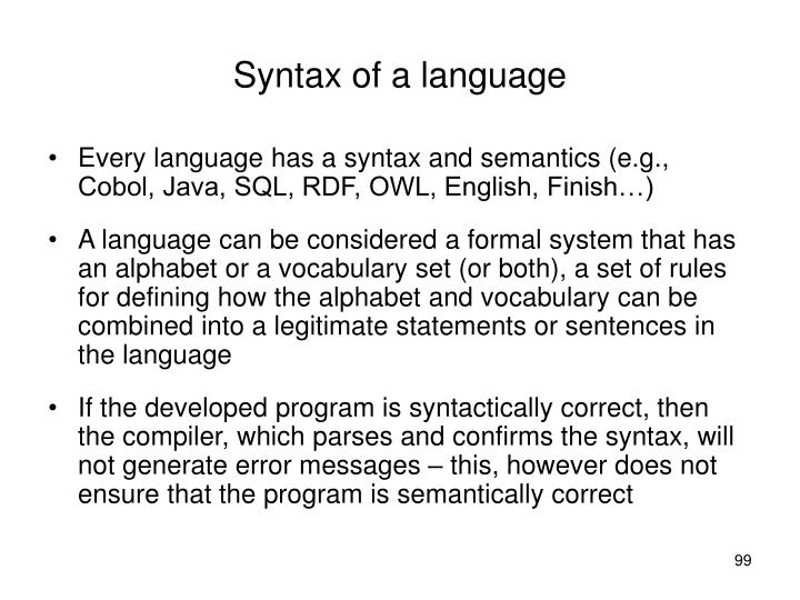 Syntax of a language