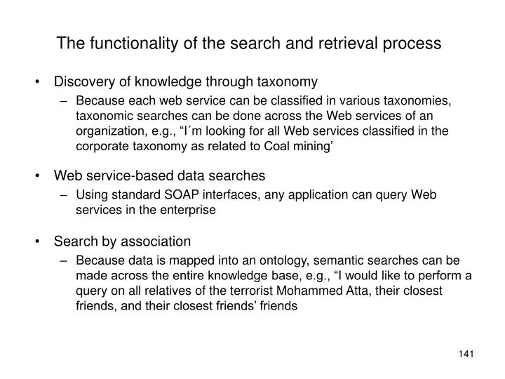 The functionality of the search and retrieval process
