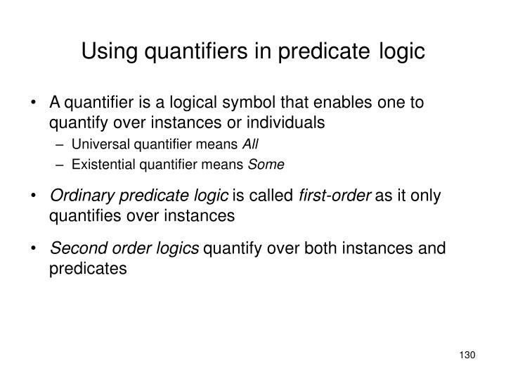 Using quantifiers in predicate