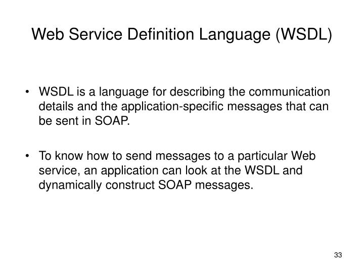 Web Service Definition Language (WSDL)
