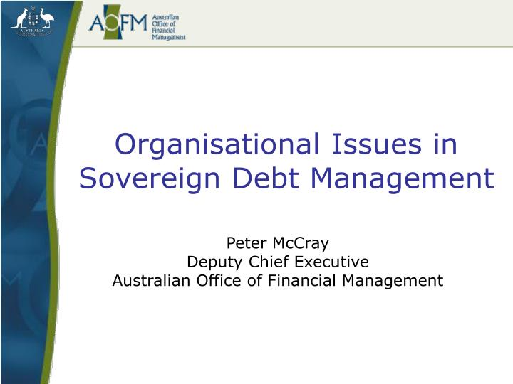 organisational issues in sovereign debt management n.