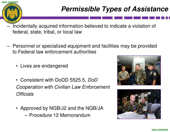 Permissible Types of Assistance