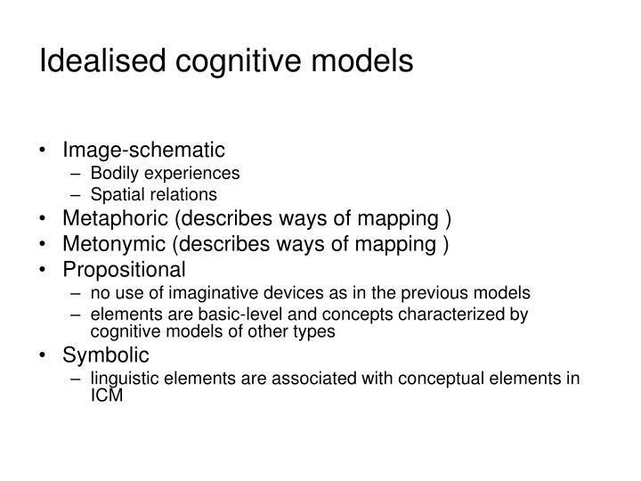 Idealised cognitive models