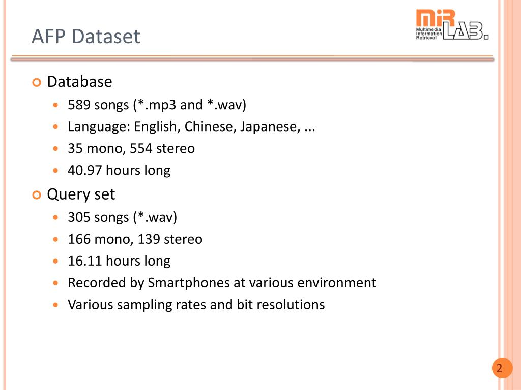 PPT - Audio Fingerprinting as a New Task for MIREX-2014