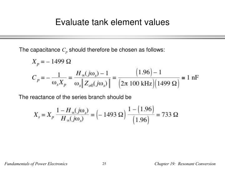 Evaluate tank element values