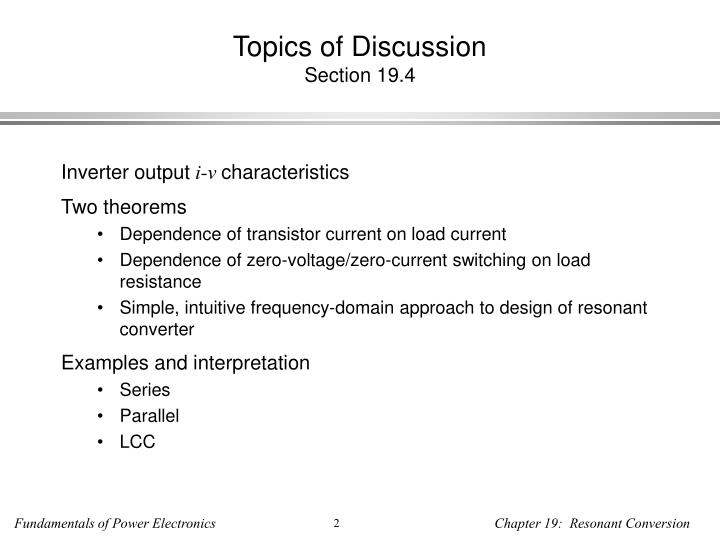 Topics of discussion section 19 4