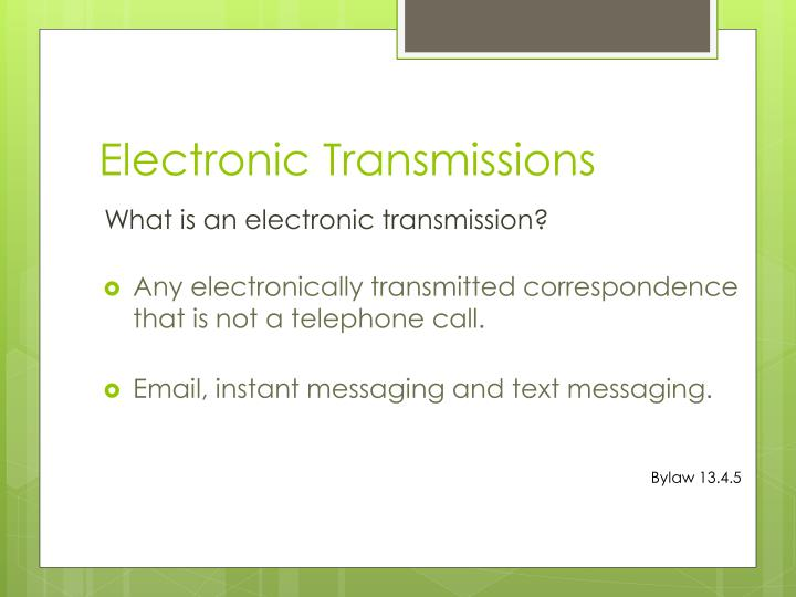 Electronic Transmissions