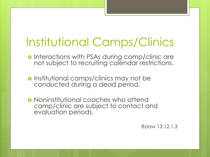 Institutional Camps/Clinics
