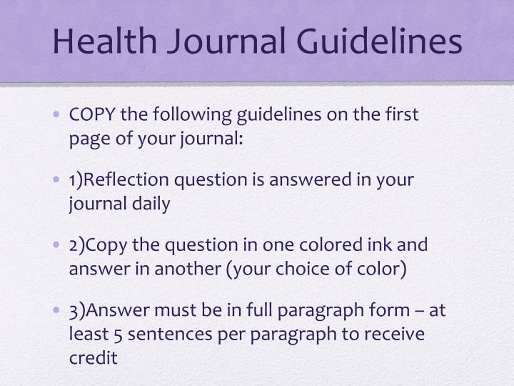 Health Journal Guidelines