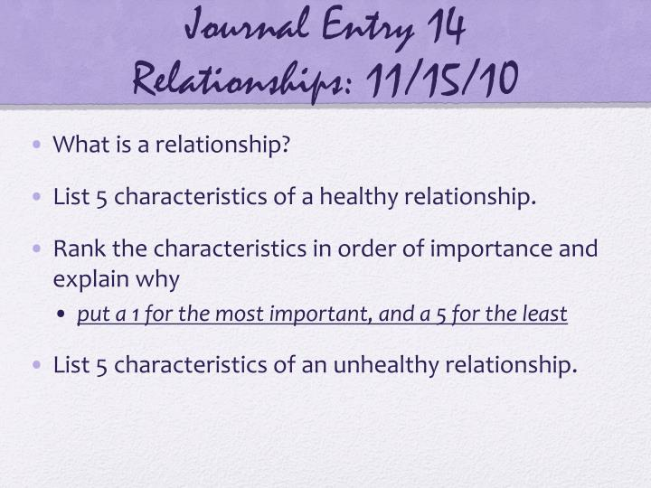 Journal entry 14 relationships 11 15 10