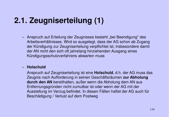 2.1. Zeugniserteilung (1)