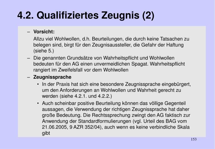 4.2. Qualifiziertes Zeugnis (2)