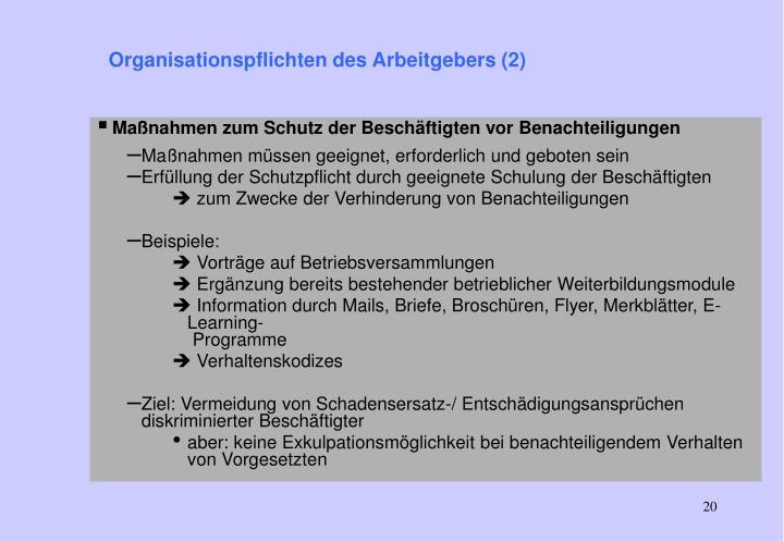 Organisationspflichten des Arbeitgebers (2)
