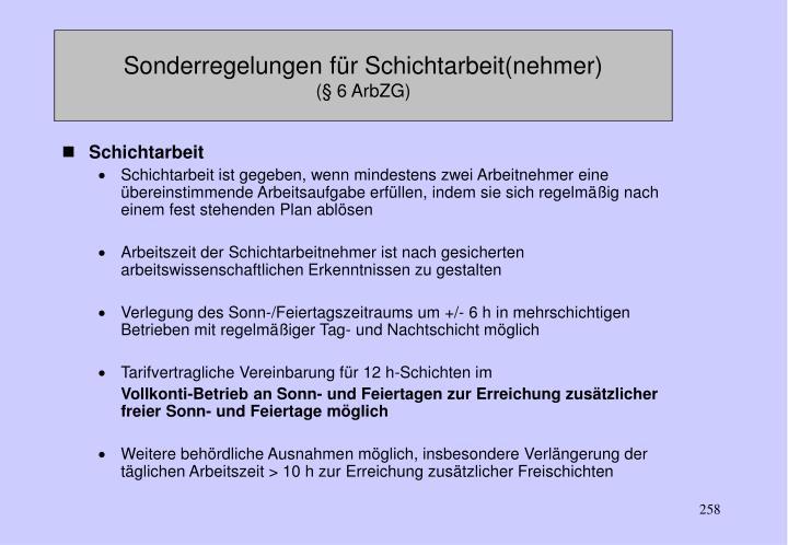 Sonderregelungen für Schichtarbeit(nehmer)