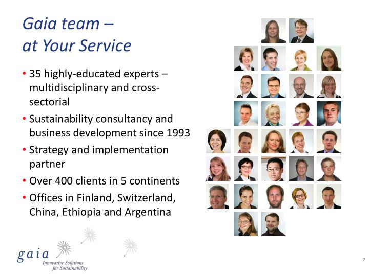 Gaia team at your service