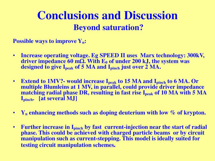Conclusions and Discussion