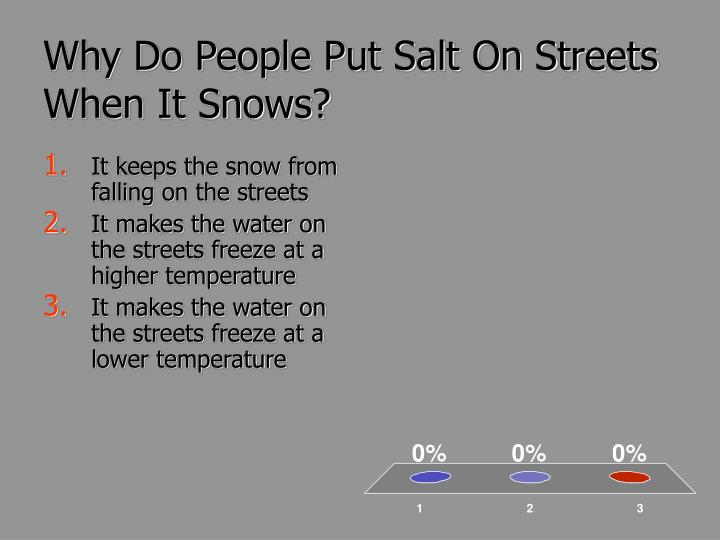 Why Do People Put Salt On Streets When It Snows?