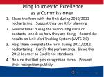 using journey to excellence as a commissioner