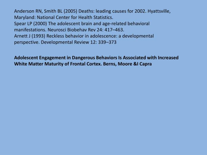 Anderson RN, Smith BL (2005) Deaths: leading causes for 2002. Hyattsville, Maryland: National Center for Health Statistics.