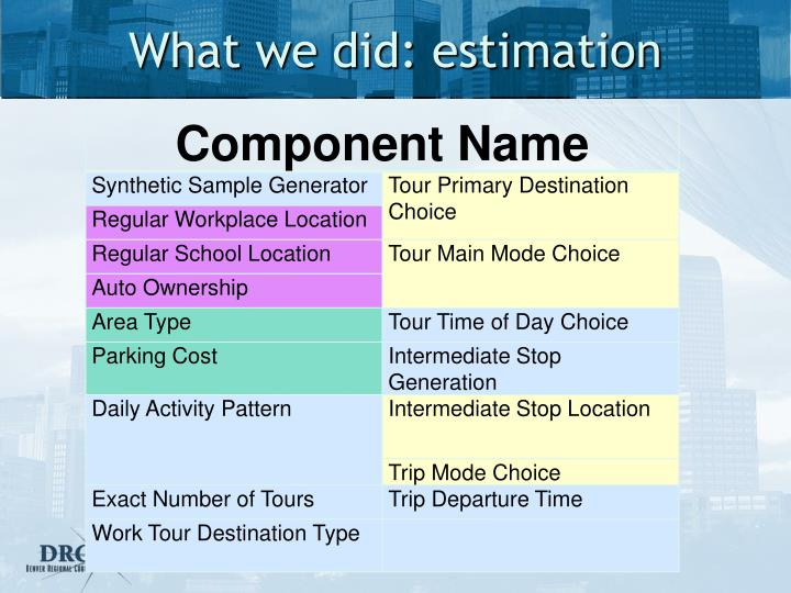What we did: estimation