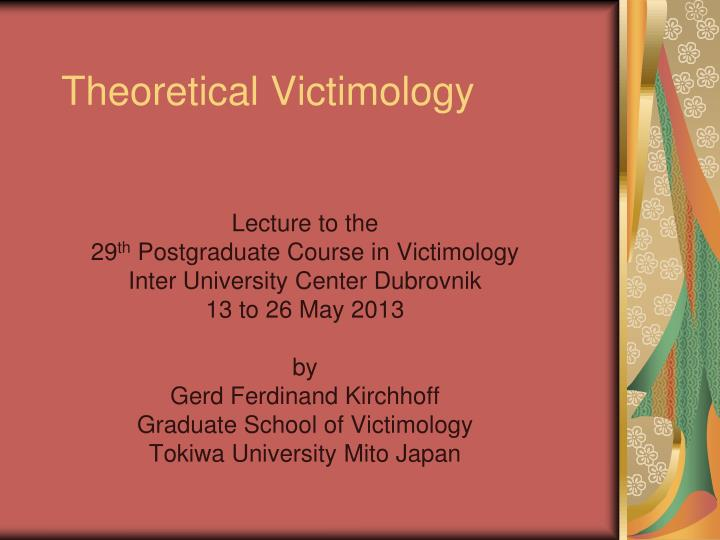 positivist victimology Victimology focuses on crime and its victims ithin victimology, there are several approaches to the practice including positivist, radical, and critical victimology, and there are a limitless number of individuals that may be classified as victims as crimes affect people of all ages, including the people surrounding and involved in victims' lives.