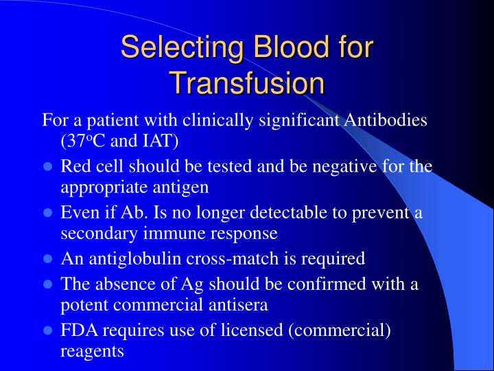 Selecting Blood for Transfusion