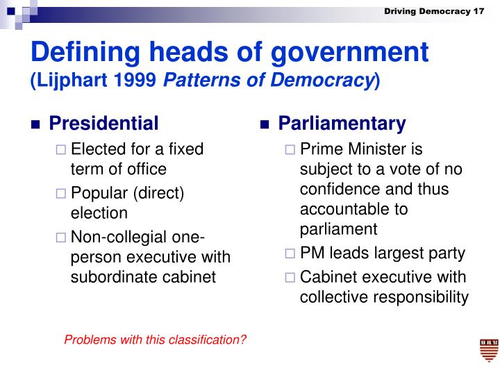 Defining heads of government