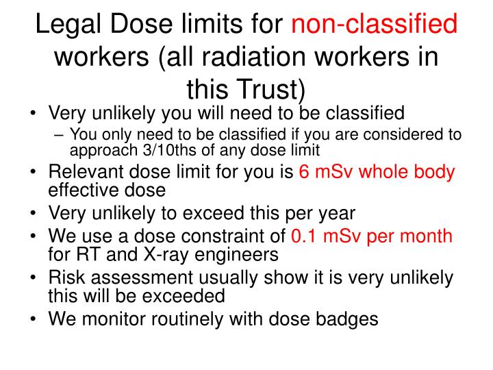 Legal Dose limits for