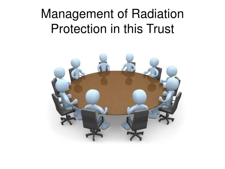 Management of Radiation Protection in this Trust