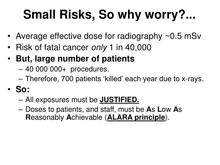 Small Risks, So why worry?...