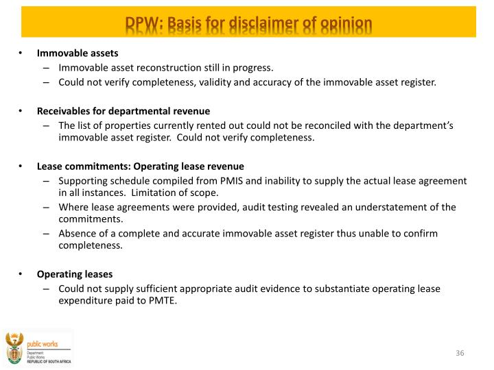 DPW: Basis for disclaimer of opinion