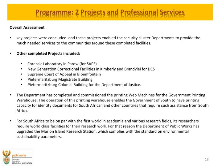 Programme: 2 Projects and Professional Services