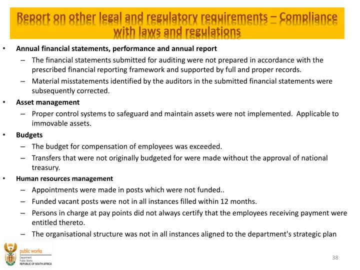 Report on other legal and regulatory requirements –