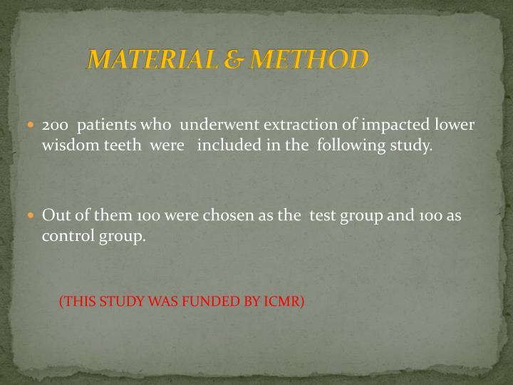 MATERIAL & METHOD