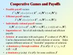 cooperative games and payoffs