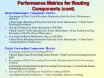 performance metrics for routing components cont1