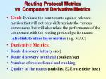 routing protocol metrics vs component derivative metrics