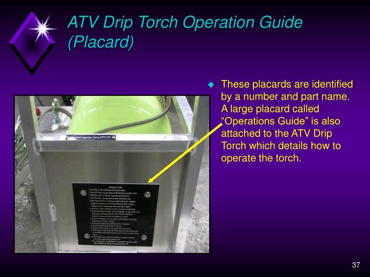 ATV Drip Torch Operation Guide (Placard)