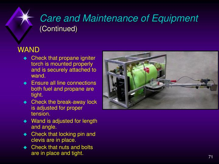 Care and Maintenance of Equipment