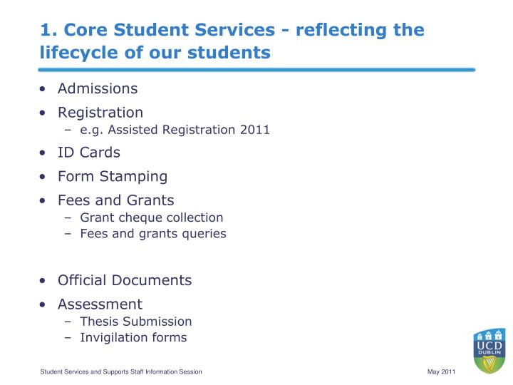 1. Core Student Services - reflecting the lifecycle of our students