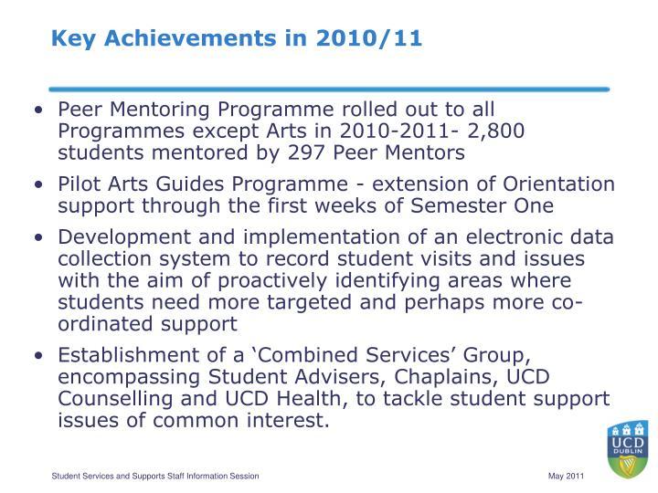 Key Achievements in 2010/11